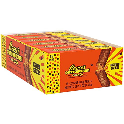 REESE'S OUTRAGEOUS! Peanut Butter Chocolate Candy Bar, Halloween Candy, King Size, 18 Count -