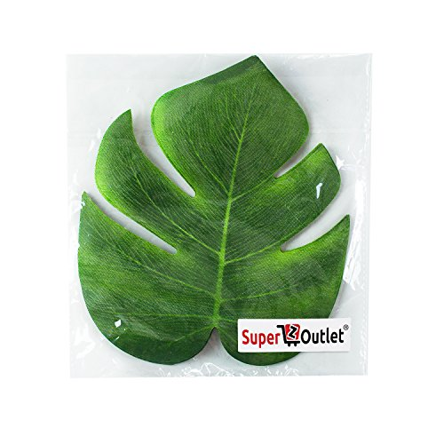 """Super Z Outlet Tropical Imitation Plant Leaves 8"""" Hawaiian Luau Party Jungle Beach Theme Decorations for Birthdays, Prom, Events (12 Pack)"""