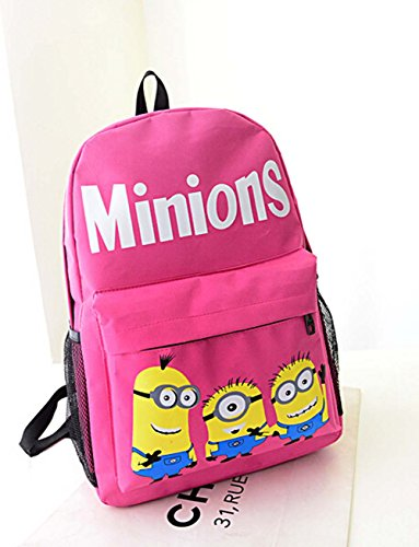 Fasion Cartoon Minions Nylon Unisex Students Schoolbag Shoulders Bag Preppy Style Backpack (Red) ()