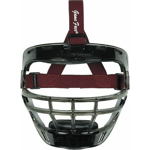 Face Mask Maroon (Markwort Game Face Sports Safety Mask (Smoke with Maroon Ponytail Harness, Large))