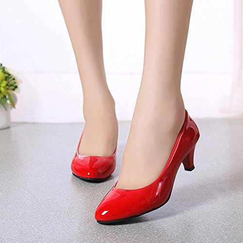 Damen Schuhe DEELIN ❤Nude flacher Mund Klassische Damen Office Work Heels Übergrößen Solide Bequem Schuhe elegante Damen Low Heel Rot