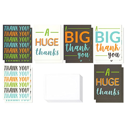 12 Pack Jumbo Thank You Greeting Cards, 6 Assorted Multicolor Designs, Bulk Box Set Variety Assortment, Envelopes Included, 8.5 x 11 Inches