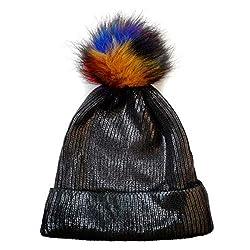 Black-C Sequin Beanie Hat with Faux Fur