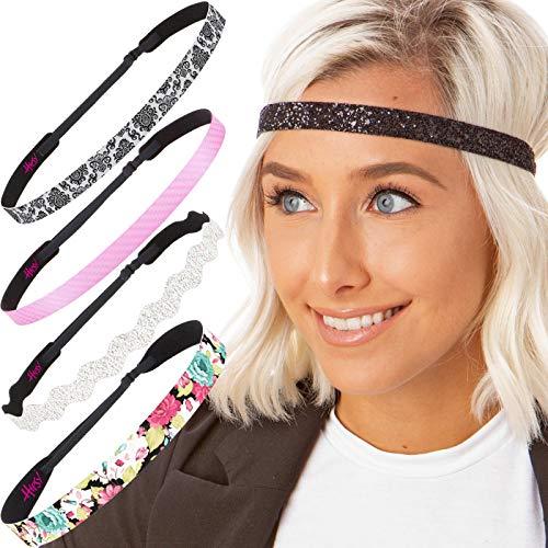 Hipsy Cute Fashion Adjustable No Slip Hairband Headbands for Women Girls & Teens (Pink & Black Fun Floral -
