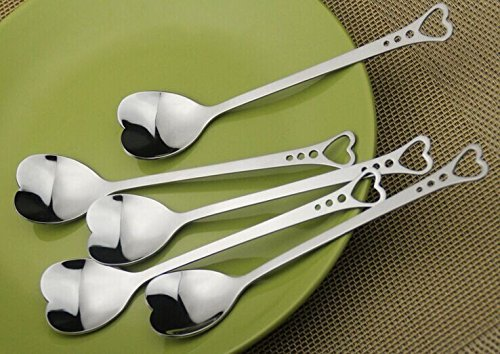 Stainless Steel Coffee Spoon, Heart Shaped Coffee Spoon, Long Handle Spoon, Set of 6 (Heart-Shaped)