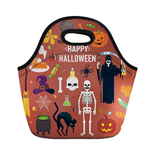 Semtomn Lunch Tote Bag Happy Halloween Spider Ghouls Witch Hat Bat Grim Reaper Reusable Neoprene Insulated Thermal Outdoor Picnic Lunchbox for Men -