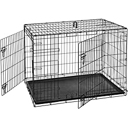 AmazonBasics Double-Door Folding Metal Dog Crate - 42 Inches