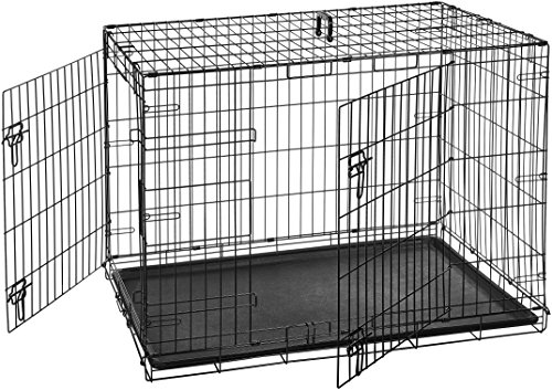 AmazonBasics Double-Door Folding Metal Dog Crate Cage - 42 x 28 x 30 Inches (Midwest Icrate Double Door Folding Dog Crate)