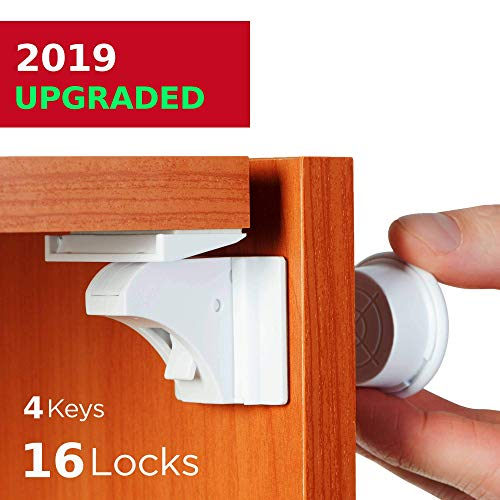 Baby Proofing and Childproof Cabinet Locks for Child Safety - for Kitchen Bathroom Cabinet and Drawer | Easy to Install and Hidden - by Baby Trust, 16 locks 4 keys (Best Quality Kitchen Cabinets)