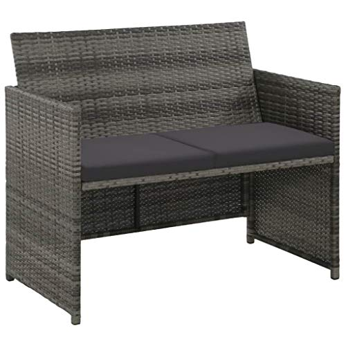 2 Seater Rattan Patio Furniture Set Garden Lawn Pool Backyard Outdoor Sofa Wicker Conversation Set with Weather Resistant Cushions (Gray) (Garden Rattan Two Furniture Seater)