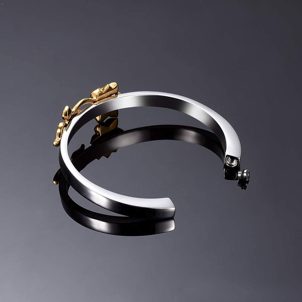 EternityMemory Merry Stainless Steel Cremation Bracelet Ashes Holder Keepsake Jewelry with Gift Box