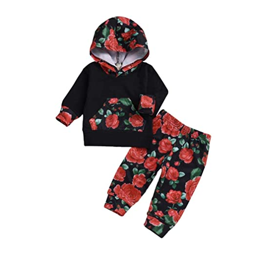 73a5fad8 Vinjeely Infant Baby Girls Set Floral Rose Print Hoodie Tops+Pants Outfits  Fall Winter Clothes
