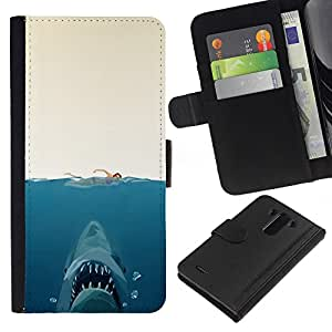 Stuss Case / Funda Carcasa PU de Cuero - Shark Attack - Gracioso - LG G3