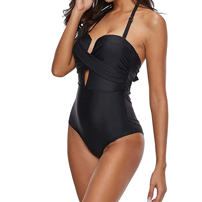 951267d9b9 YKARITIANNA Women's One Piece Swimsuits One Shoulder Swimwear Asymmetric  Cross Bathing Suit 2019 Black
