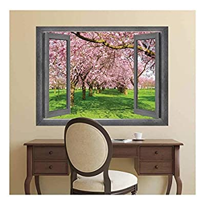 Open Window Creative Wall Decor - View of a Row of Cherry Blossom Trees - Wall Mural, Removable Sticker, Home Decor - 24x32 inches
