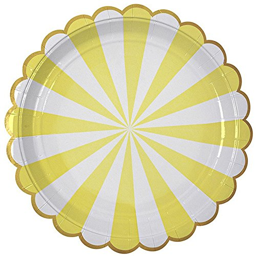 e Stripe Paper Plates Disposable Plates Paper Dessert Snack Plate for Party Birthday Wedding 9'',Multi-color (Set of 8) (Scalloped Edge Patterned)