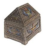 Egyptian Heart Scarab and Isis Trinket Box Cold Cast Bronze 5 1/8 Inch Long