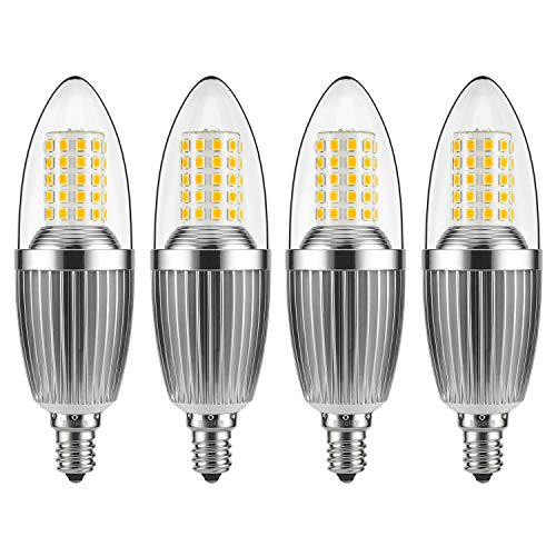 (GEZEE  LED Candelabra Bulb, Non-Dimmable 100-Watt Light Bulbs Equivalent, 12W LED Candle Bulbs,Warm White 3000K Chandelier Bulbs, E12 Candelabra Base, 120V, 1200Lumens, 4.7in,Torpedo Shape(4 Pack))