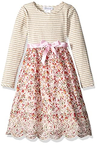 Bonnie Jean Toddler Girls' Knit to Floral Embroidered Scallop Dress, Pink, 3T - Girls Pink Floral Denim