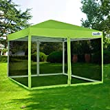 Quictent 10x10 Ez Pop up Screen Canopy Tent with Netting Screen House Mesh Side Wall (Green)
