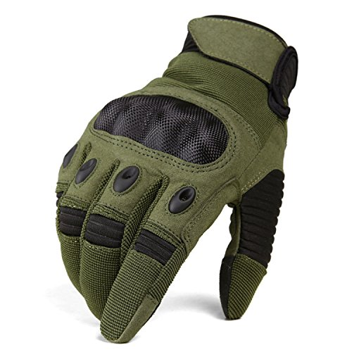 TACVASEN Men s Tactical Shooting Rubber Hard Knuckle Full Finger Combat  Motorcycle Gloves 3a40fd7b3dd