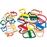 School Smart Animal and Objects Clay Cutters with Rolling Pin - 4 in - Set of 10 - Assorted Colors