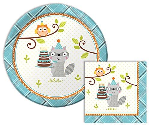 Happi Woodland Boy Themed Dessert Napkins & Plates Party Kit for 8