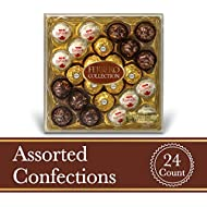 Ferrero Rocher Fine Hazelnut Milk Chocolates, 24 Count, Assorted Coconut Candy and Chocolate Collection, Valentine's Day Gift Box, 9.1 oz