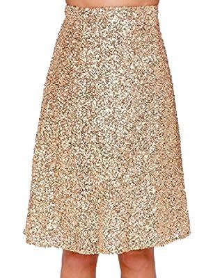 Vska Women's Sparkle High Waist Mid-Long Relaxed Skater Skirt