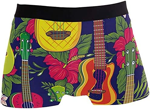 Winne Bag Aloha Bunte Musik Ukulele Blumenmuster Boxer Briefs Herren Unterwäsche Jungen Stretch Breathable Low Rise Trunks XL