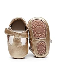 HONGTEYA Baby Boys Girls Fox Mary Jane Sandals Moccasins Shoes Rubber Sole Crib Toddler Leather Walking Prewalker (12-18 Months/US 6.5/5.31''/See Size Chart, Gold)