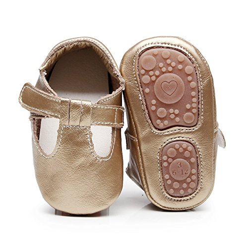 Ankle Strap Leather Mary Janes - HONGTEYA Baby Boys Girls Fox Mary Jane Sandals Moccasins Shoes Rubber Sole Crib Toddler Leather Walking Prewalker (0-6 Months/US 4/4.53''/See Size Chart, Gold)