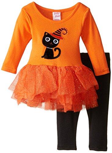 [Blueberi Boulevard Baby-Girls Newborn Halloween Cat Tutu Set, Orange, 6-9 Months] (Baby Halloween Tutus)