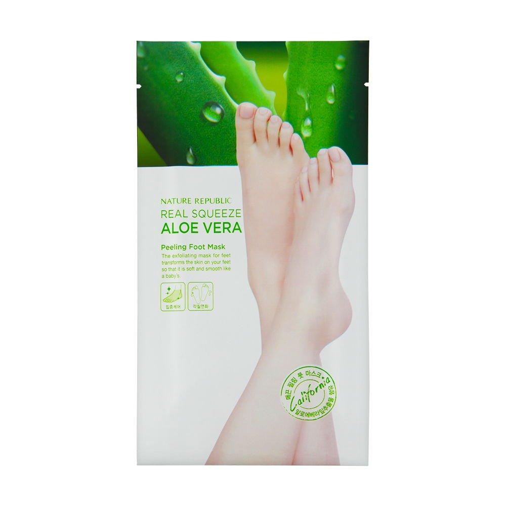 Nature Republic Real Squeeze Aloe Vera Peeling Foot Mask Nr Shoothing Gel Republik 300ml Beauty