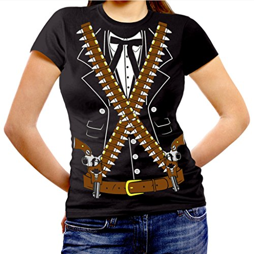 Viva Mexico Women's Mexican Mariachi Pistolero Bandido Cowboy Halloween Costume Fitted T-Shirt X-Large (Mens Cowboy Costume Tshirt)