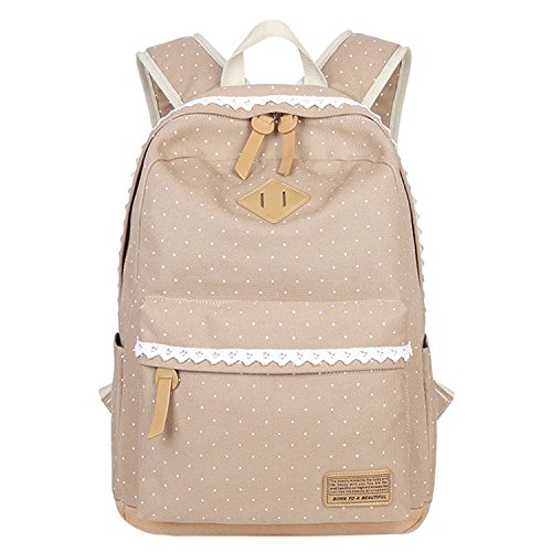 Vox Lightweight Women Backpack with Lace Casual Canvas Middle High School Bag for Teen Girls Bookbag, Khaki - Vox 3 Light