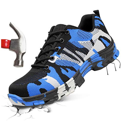 FEETCITY Safety Toe Athletic Shoes - Skater Style, Steel Toe Shoe Sneakers Camouflage Blue (M:13.5)
