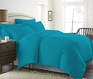 1000 Thread Count Duvet Cover Set 5 Piece With Zipper & Corner Ties 100% Egyptian Cotton Hypoallergenic (1 Duvet Cover 4 Pillow Shams) ( Twin/TwinXL, Torquise Blue ) by BED ALTER