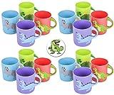 24 Dinosaur Dino Mugs Plus a Bonus Dinosaur Button