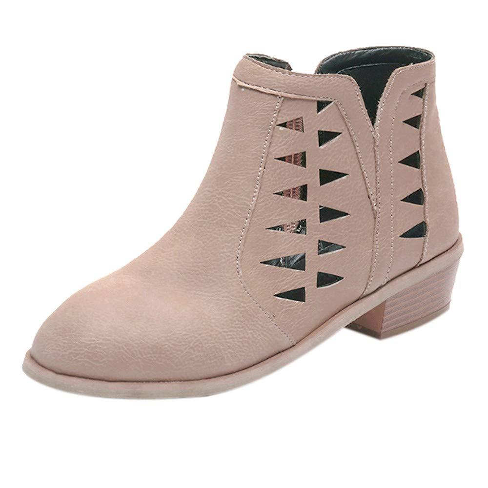 ⚡ HebeTop ⚡ Women's Open Toe Stacked Block Heel Fashion Bootie Ankle Khaki by HebeTop➟Shoes Accessory