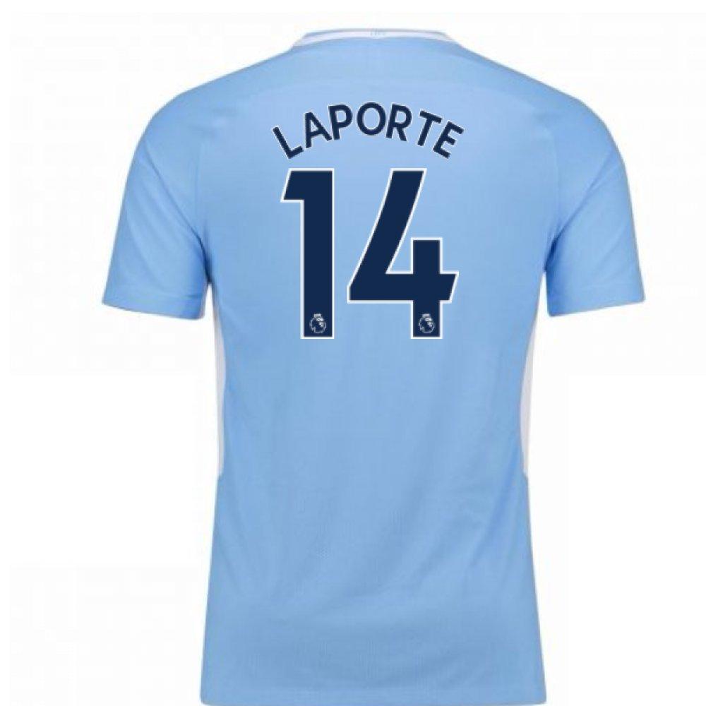 2017-18 Man City Home Football Soccer T-Shirt Trikot - Kids (Aymeric Laporte 14)