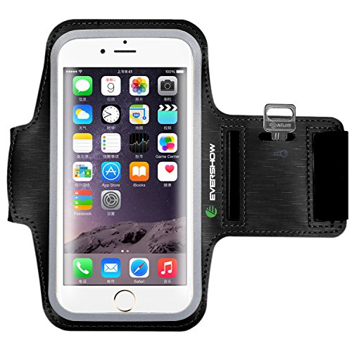 Evershow Water Resistant Sports Armband for iPhone 6/6S Plus (5.5 Inch), Galaxy S8, S8 Plus, S7 Edge, Galaxy Note 5, with Key Holder/ Flap | High Visibility Reflective Running Exercise Armband