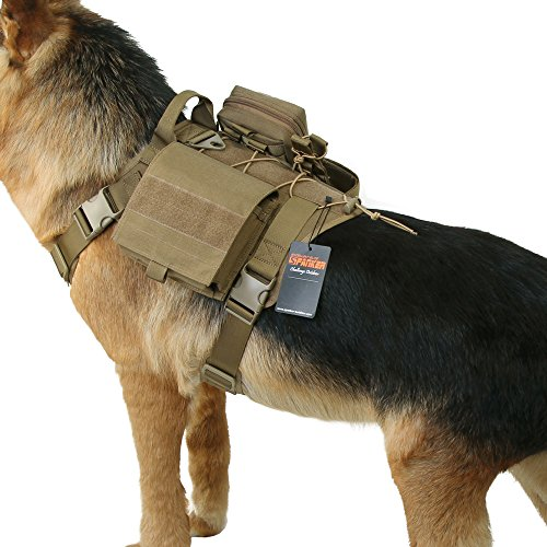 EXCELLENT ELITE SPANKER Tactical Service Dog Vest Harness Training Molle Dog Vest with Detachable Patch Pouches(Coyoter Brown-XL)