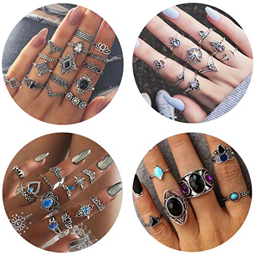 Adramata 43 Pcs Vintage Knuckle Rings Women Girls Stackable Midi Finger Ring Set Bohemian Jewelry