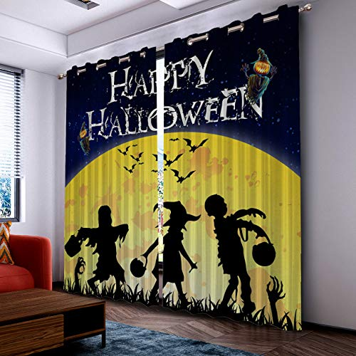 Prime Leader Curtains for Living Room- Darkening Thermal Insulated Window Treatment Curtains, with Grommet Home Decor Halloween Withch Zombie with Moon (2 Panels, 52 x 72 Inch Each Panel) ()