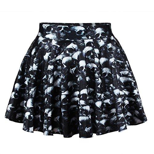 Women's Basic Versatile Black Skull Printing Flared Skater Skirt
