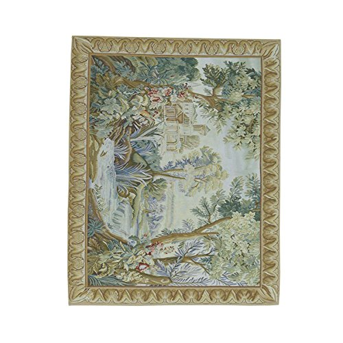 Hand Woven Aubusson Tapestry (Hand-Woven Aubusson Tapestry Design Pure Wool Oriental Rug (4'9