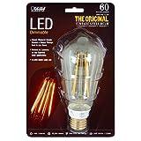 Feit BPST19/LED The Original Vintage Style Bulb 60W Edison Equivalent Medium Base Clear Dimmable LED Light, 4 Pack