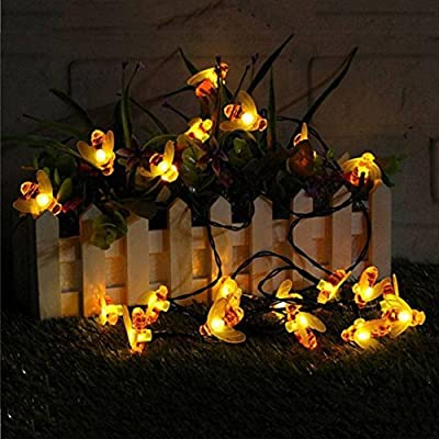 LiPing 30 LED Solar Powered Outdoor String Honey Bee Shape Warm Decorative Lights- Light Outdoor Garden Lawn Lights Path Landscape Lamp