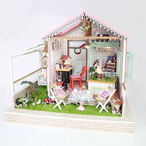Kit per casa delle bambole fai da te in miniatura, in legno, fatta a mano, con mobili e illuminazione LED